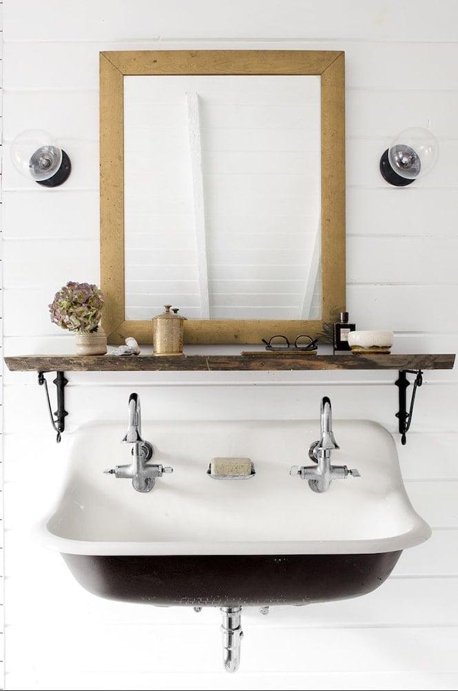 fabulous shelf on bathroom counter | 24 Small Bathroom Shelf Ideas - Rhythm of the Home
